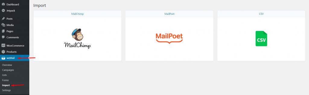 weMail→import