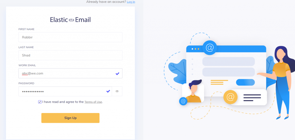 Creating Account with Elastic Email