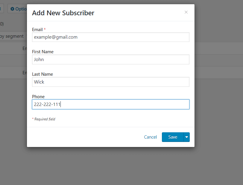 Subscriber Pop-up