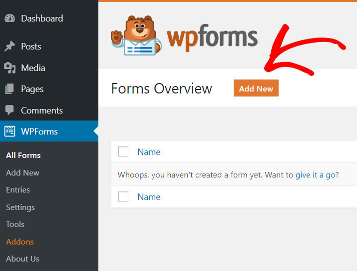 Add New wp forms
