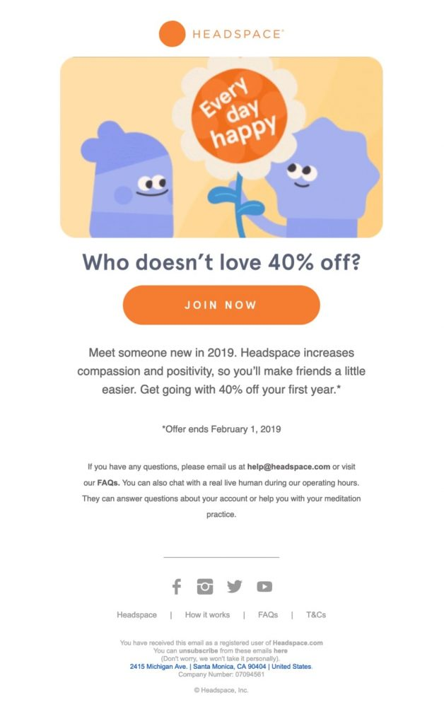 Offer discounts incentive emails