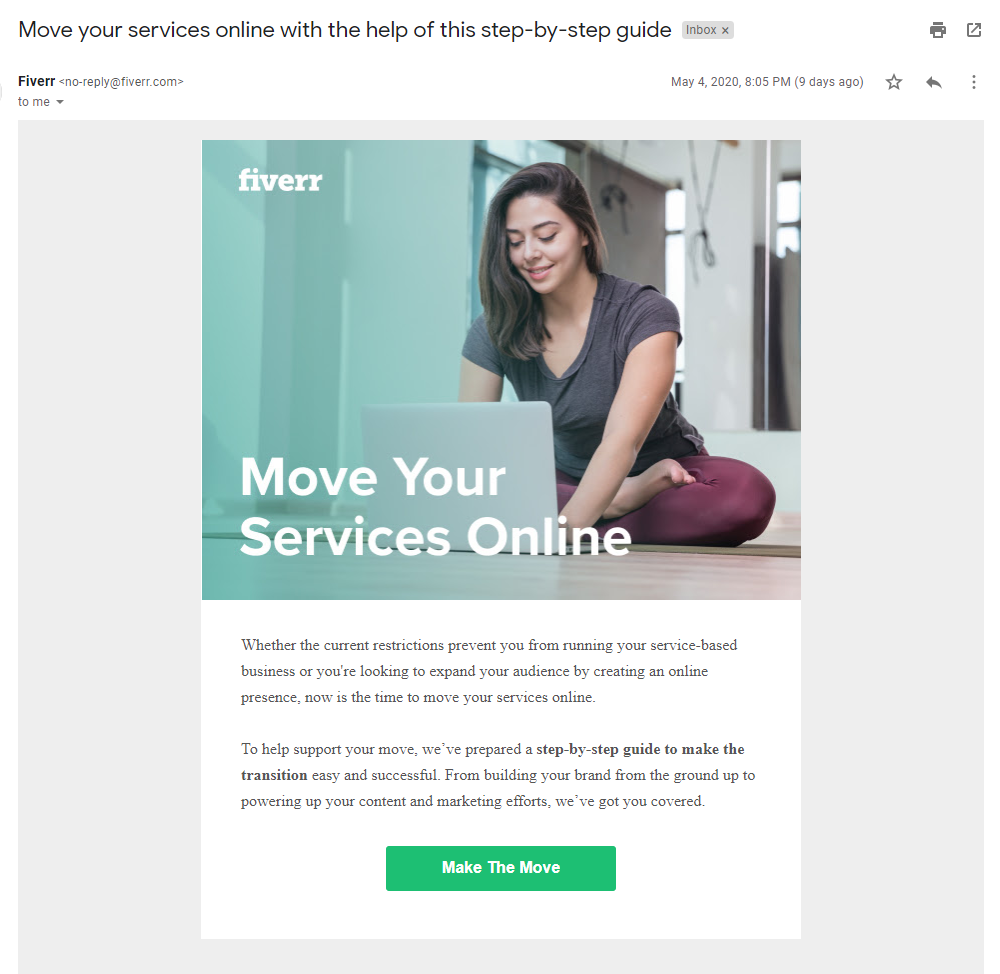 fiverr email marketing example