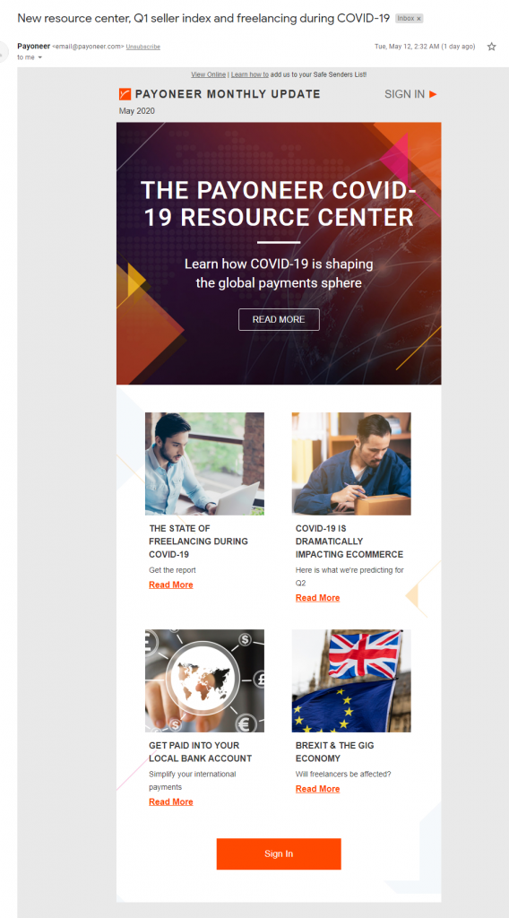 payoneer email marketing example