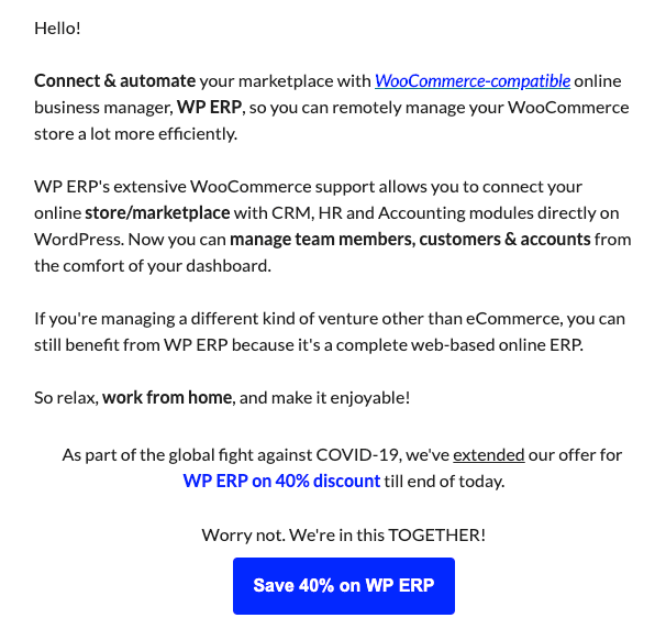WP ERP Send Incentive emails during pandemics