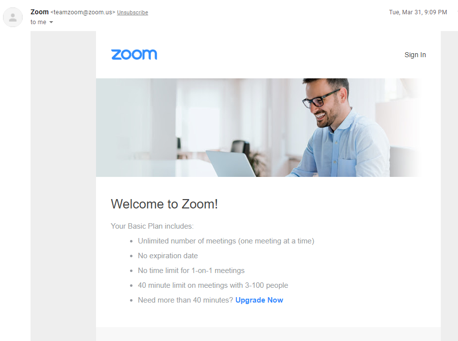Zoom email marketing example