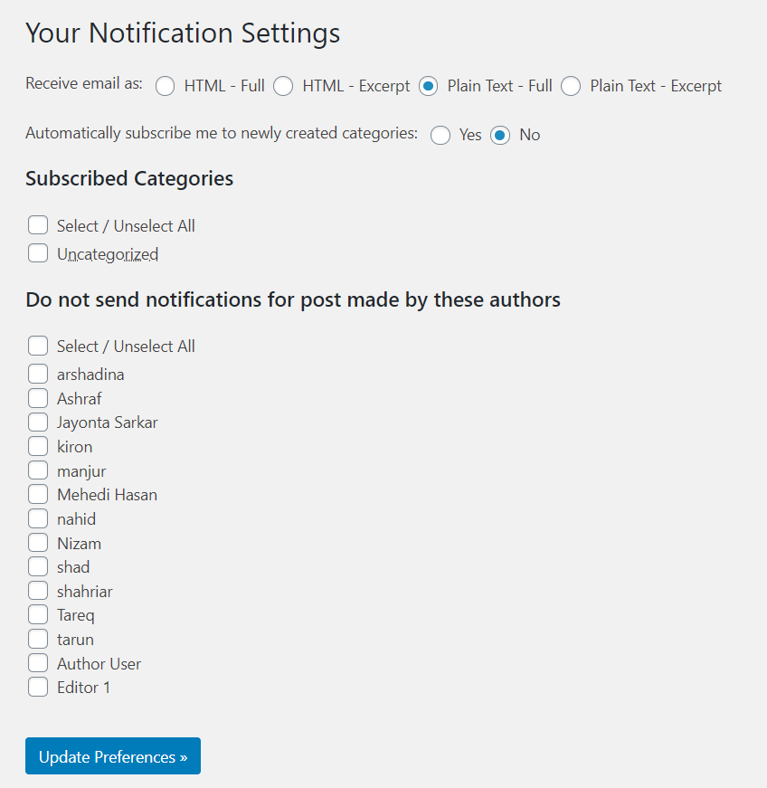 notification settings