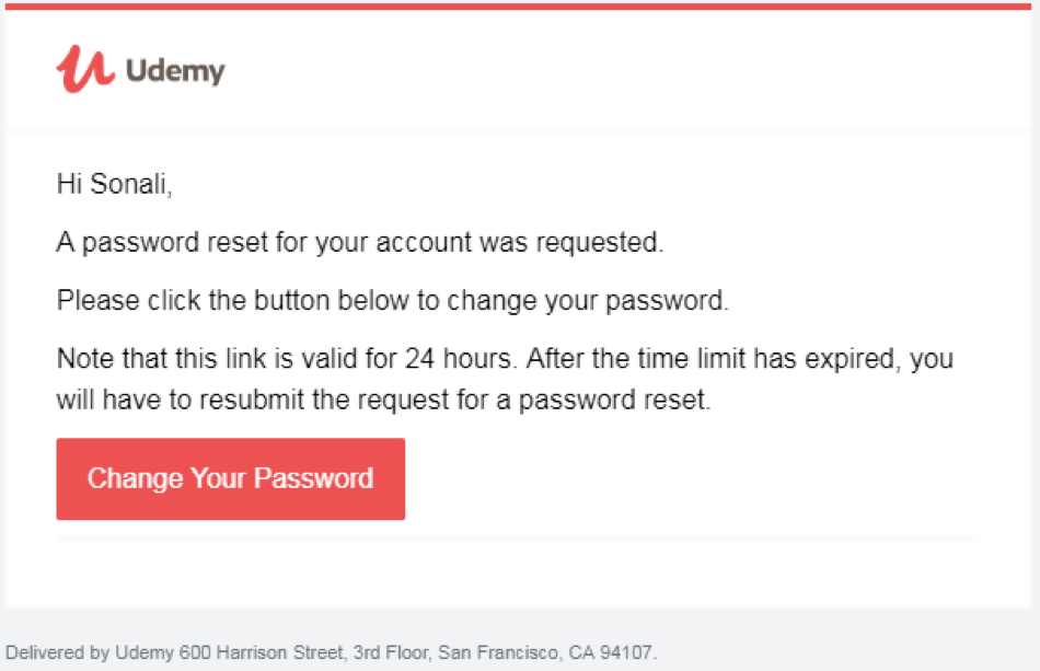 Password Reset transactional Email examples