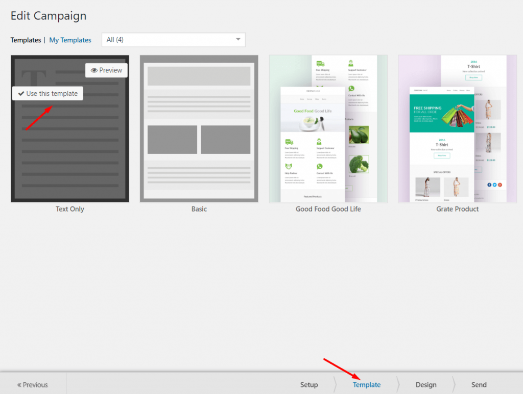 Step 2: Selecting and Customizing Email Template