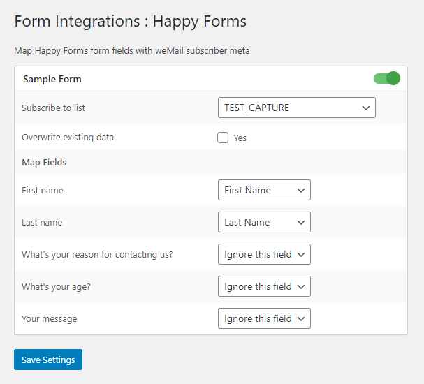 Happy Forms integration