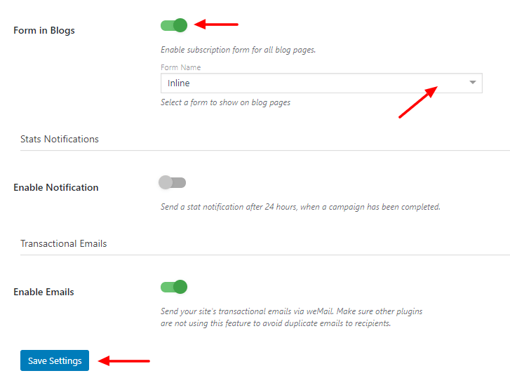 Enable form in blog option