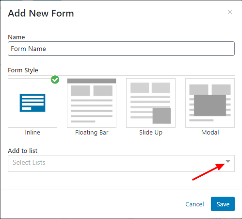 select the form style