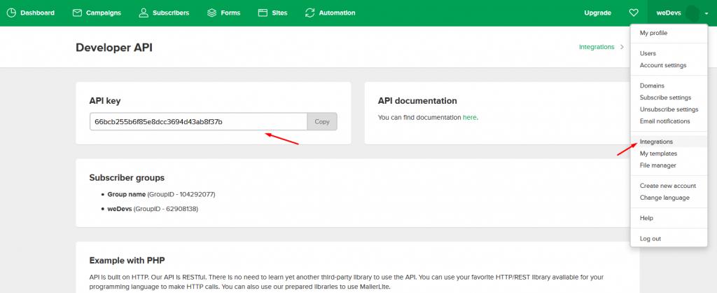 Copying API keys