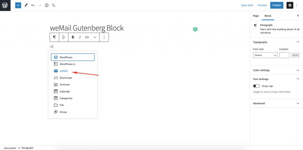 weMail Gutenberg Block