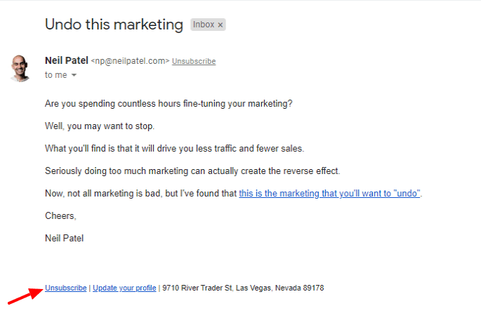 Neil Patel allow users unsubscribe his email
