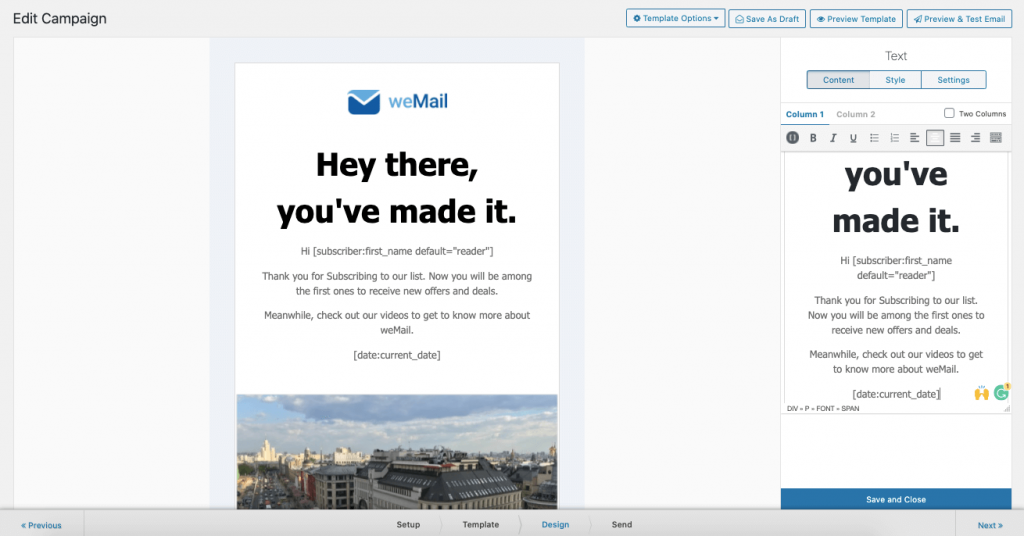 customizing template how to create a welcome email
