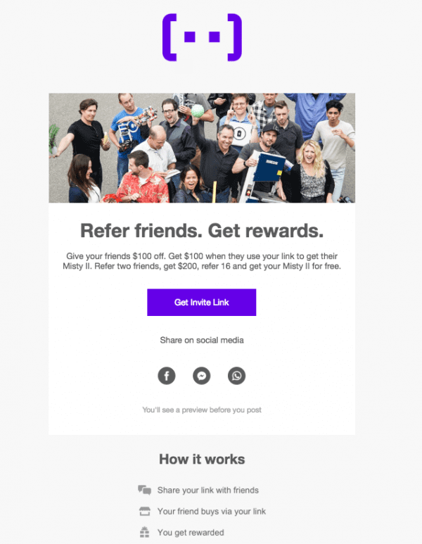 Referrals program email example