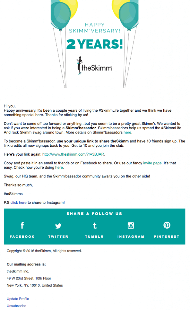 authentic email copy example