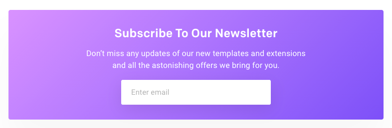 wemail newsletter sign up example under blogs