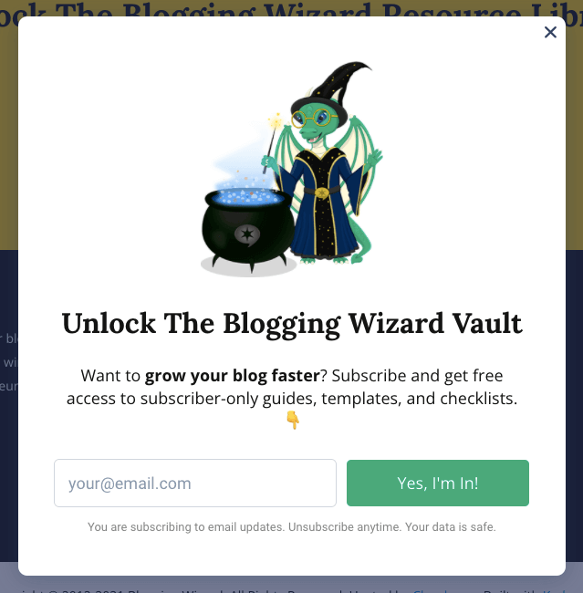 Blogging Wizards Simple but Magical Optin for newsletter sign up